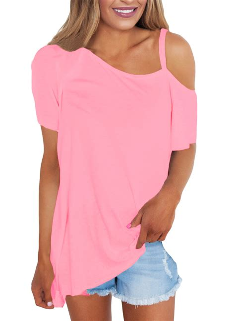 Sleeve Fit Top womens pink cold shoulder sleeve fit tops