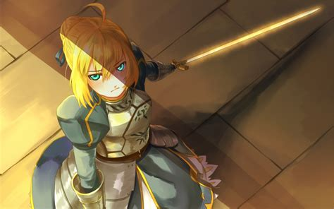 anime armor girl wallpaper blondes fatestay night weapons excalibur armor saber anime