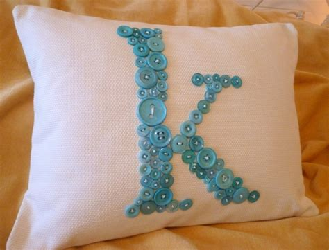 personalized bed rest pillow white letter k pillow monogrammed in ocean blue buttons