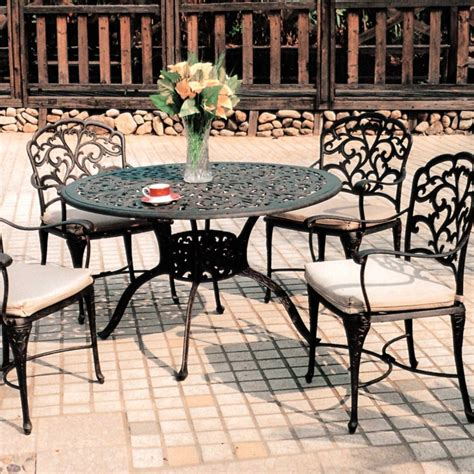 Darlee Patio Furniture Darlee 5 Cast Aluminum Patio Dining Set With Table Bbq Guys