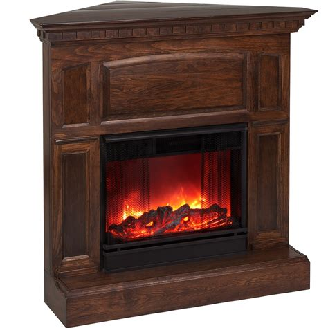 overstock electric fireplace heritage corner electric mahogany fireplace by real