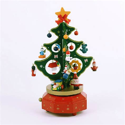 christmas tabletop musical rotating christmas tree decoration wooden tree rotating box gift decorations alexnld
