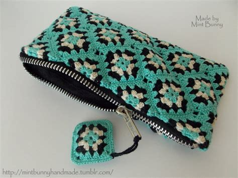 knitted zippered pouch pattern mini granny square zipper pouch crochet it pinterest