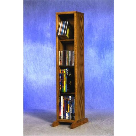 wood shed small capacity 4 shelf cd dvd rack oak 415