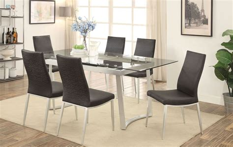 Miriam Silver And Black Extendable Rectangular Dining Room Black And Silver Dining Room Set