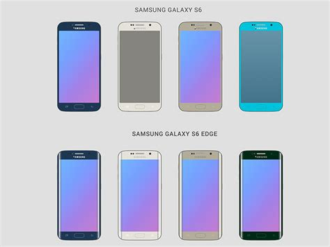 Samsung S6 End Colour Custom samsung galaxy s6 and s6 edge wireframes free mockups with all 8 colors sketch freebie