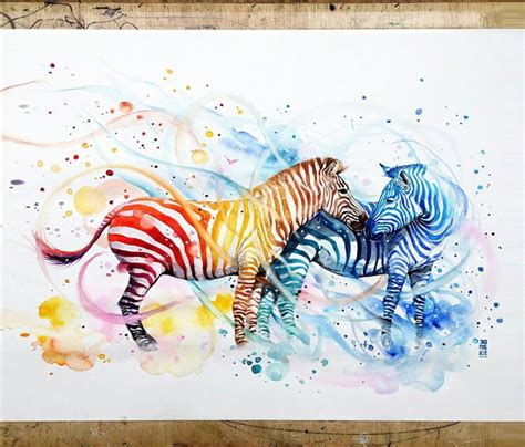 watercolor tattoo jakarta zebras watercolor by jongkie no 717