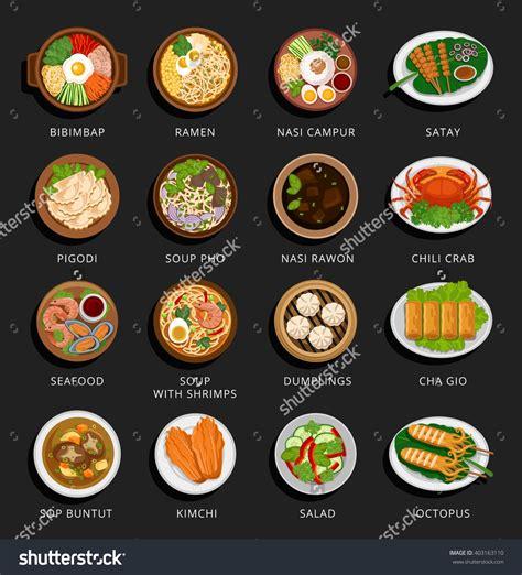 indonesian food design big set of asian food vietnamese korean indonesian