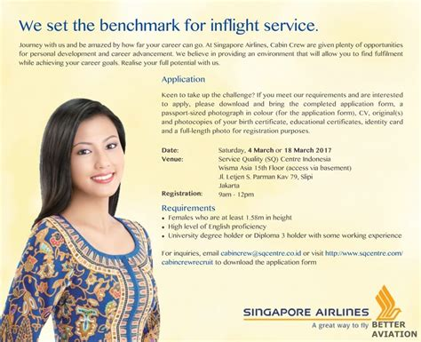 airlines recruiting cabin crew singapore airlines cabin crew recruitment jakarta march