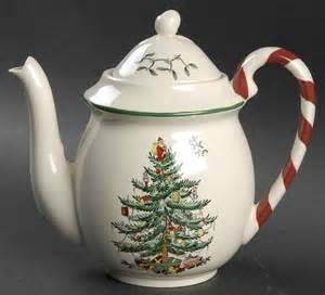 spode christmas tree green trim tea pot 8473166