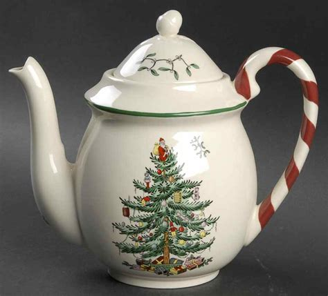 spode christmas tree green trim tea pot 8473166