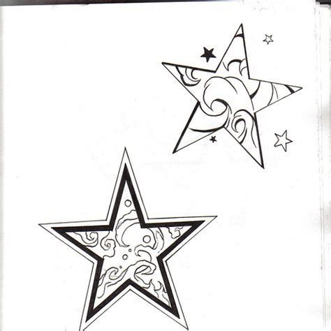 star outline tattoo pin outline on