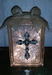 decorative glass block light white gold jeweled cross