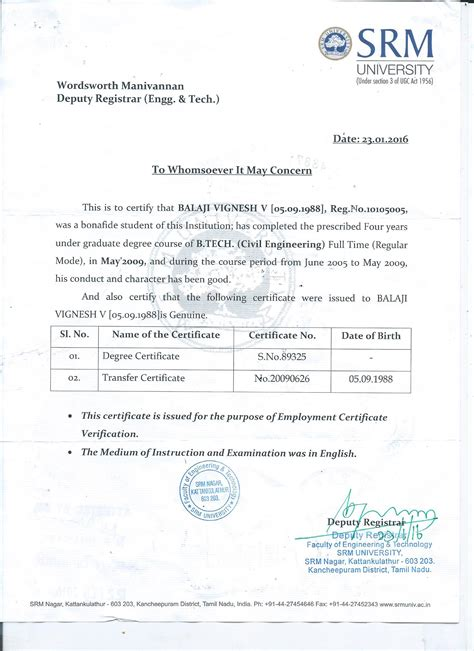 Attestation Letter For Student degree certificate attestation sle images certificate