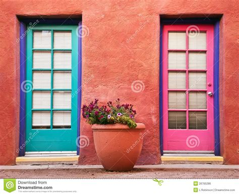 colorful doors colorful doors and terracotta wall stock photo image