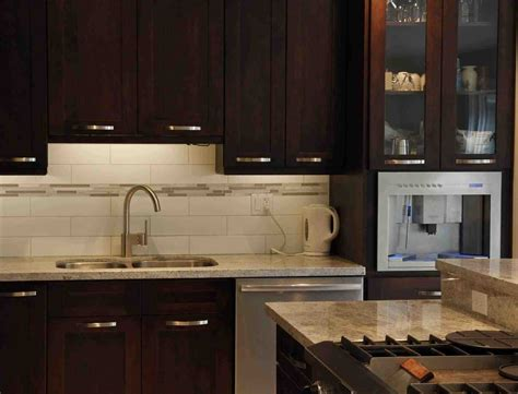 Red Kitchen Backsplash Ideas by White Subway Tile Kitchen Backsplash With Dark Cabinets