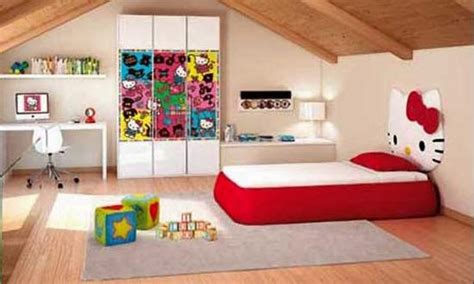 wallpaper dinding kamar stitch desain tempat tidur serba hello kitty untuk anak perempuan