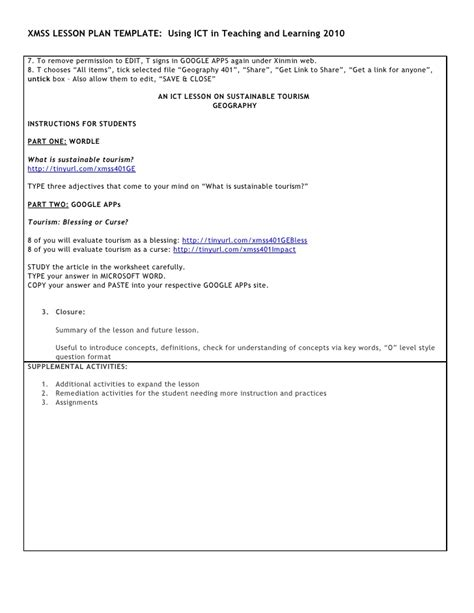 lesson plan template ict xmss ict lesson template