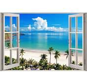 Details About 3D Window View Exotic Ocean Beach Wall Sticker Film Art