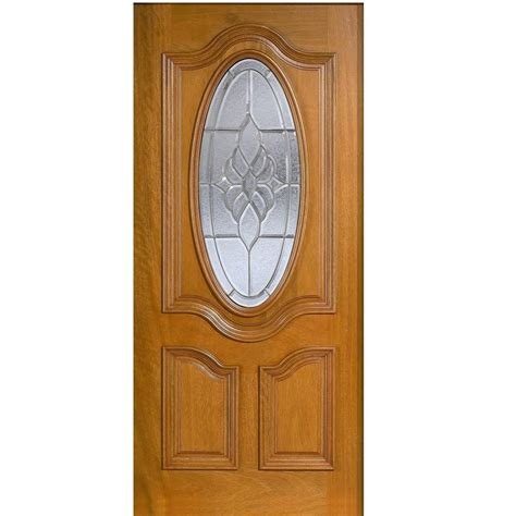 Solid Wood Exterior Door Slab Door 36 In X 80 In Mahogany Type 3 4 Oval Glass Prefinished Golden Oak Beveled Zinc Solid