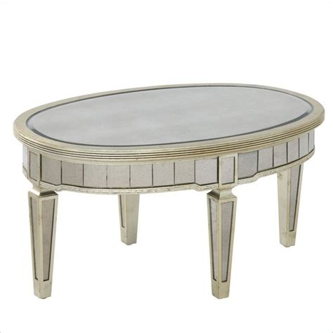Oval Mirrored Coffee Table Oval Cocktail Table Fully Beveled Scratch Resistant Antique Silvered Mirror Panels Lovely