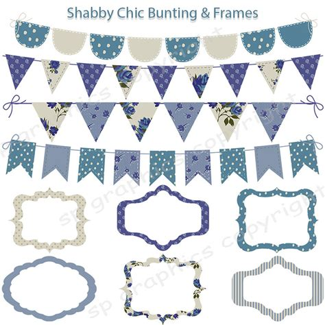 shabby chic bunting shabby chic bunting frames tags digital clipart for cards