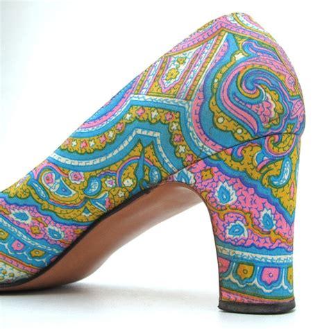 pattern colorful heels vintage 60s pastel paisley psychedelic heels w original