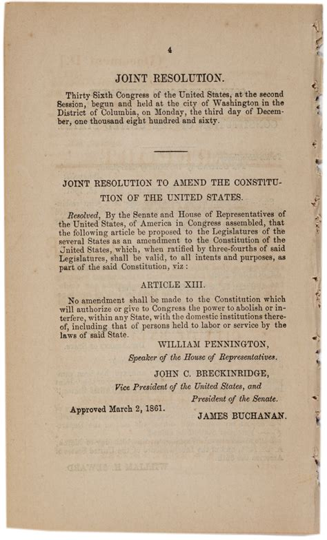 More From 13 by A Proposed Thirteenth Amendment To Prevent Secession 1861
