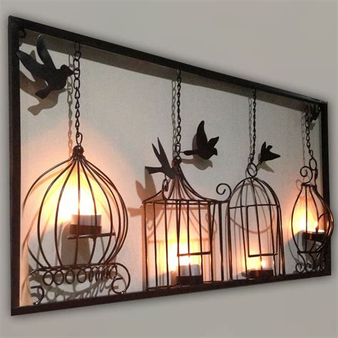 large sculptures home decor birdcage tea light wall art metal wall hanging candle