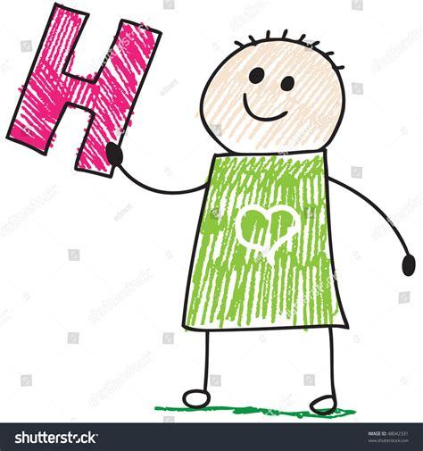 doodle boy doodle boy holding letter h stock vector illustration