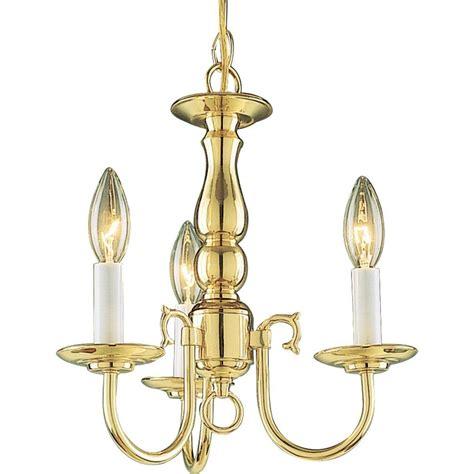 Polished Brass Chandelier Volume Lighting 3 Light Solid Polished Brass Chandelier V3653 0 The Home Depot