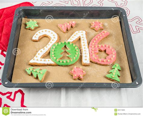 new year shaped cookies new year baking sweet pastry letters 2017 royalty free