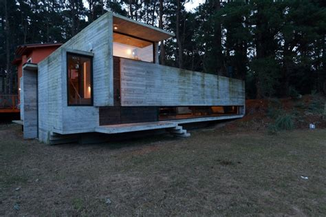 Split Level Bedroom Concrete And Steel Summer Home Tucked Into Pine Forest