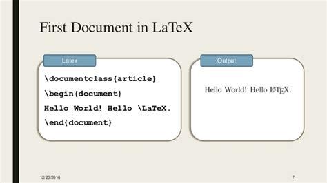 latex tutorial hello world latex workshop