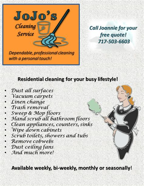 service flyer template jojo s cleaning service flyer cleaning service