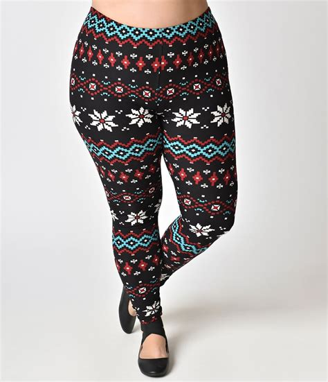pattern bottom tights plus size black multicolor fair isle pattern holiday
