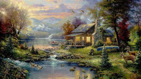 wallpaper lukisan cantik wallpaper thomas kincaid surga lanskap lukisan hd layar