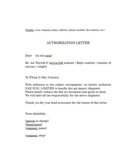 Authorization Letter Company 46 Authorization Letter Sles Templates Template Lab