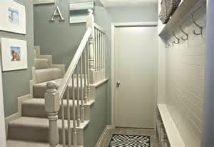 narrow hallway built in diy mudroom