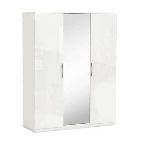 Wardrobe Door Fronts by Mirrored Wardrobe In White Gloss Fronts With 3 Doors Home Goods