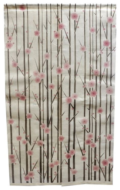 asian print curtains vertical cherry blossom linen noren curtain asian