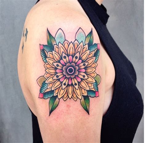 traditional sunflower tattoo traditional sunflower mandala color by andy