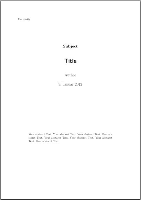 koma script how to include abstract into titlepage