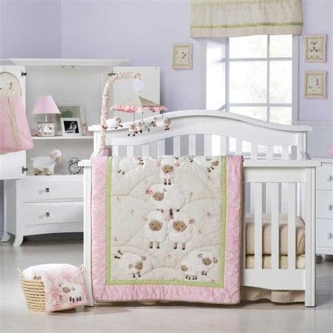 lamb crib bedding want this pink and white sheep baby girl nursery 8pc