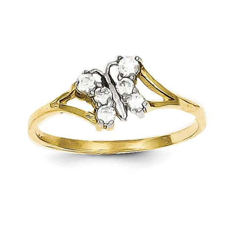 10k yellow gold cubic zirconia butterfly promise ring ebay