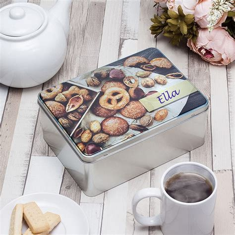 personalised biscuit tin uk custom a5 silver tin for treats