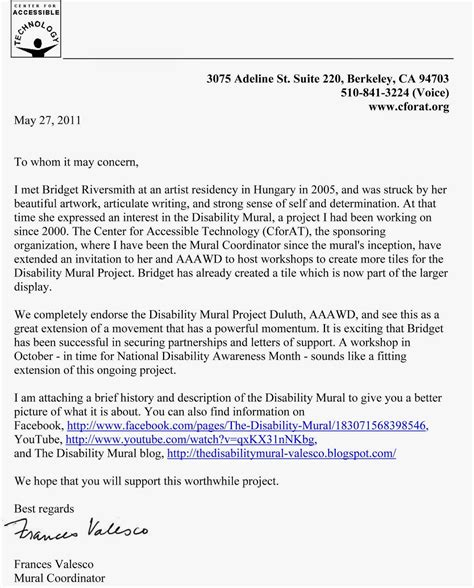 Support Letter For Disability Disability Mural Project Duluth Letter Of Support From Choice Unlimited