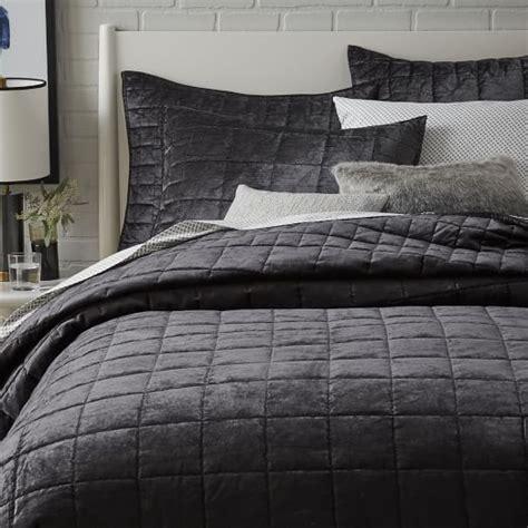 Velvet Coverlets Quilts by Washed Cotton Luster Velvet Quilt Shams West Elm