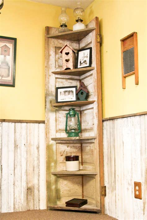door    rustic corner shelf   kitchen