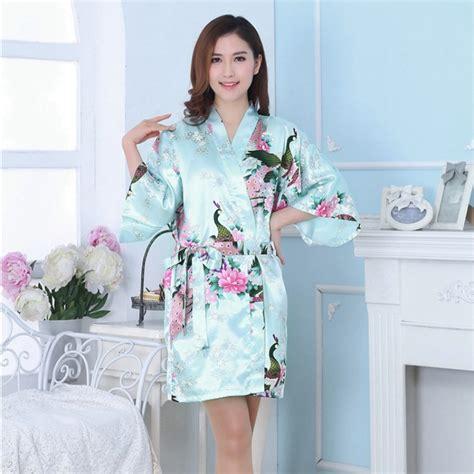Dress Sleepwear Satin silk satin pajamas peacock sleepwear dress bath robe